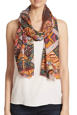 Bindya  - Geometric Floral-Print Cashmere & Silk Scarf