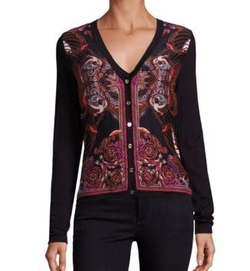 Versace - Printed Silk & Cotton Cardigan