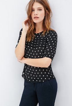 Forever 21 - Pintucked Polka Dot Blouse