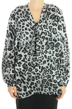 Michael Kors - Animal-Print Tie-Neck Blouse