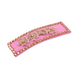 Rosallini - Flower Pink Rectangle Shaped Barrette