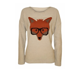 Forever - Fox Glasses Print Knitted Jumper