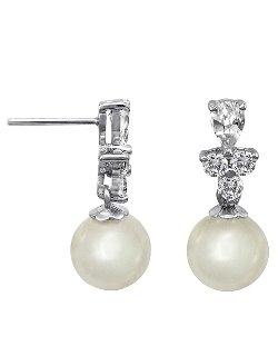Majorica - Tiered Cubic Zirconia Pearl Drop Earrings