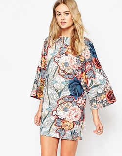 Asos - T-Shirt Dress with Kimono Sleeves in Floral Print