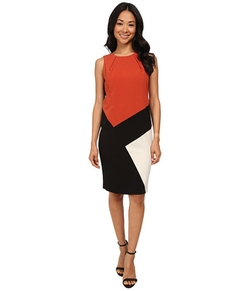 Nine West - Sleeveless Bi-Stretch Color Block Dress