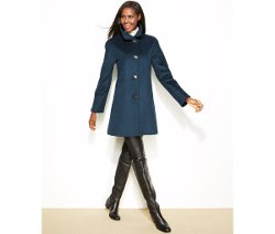 Ellen Tracy - Wool-Blend A-Line Walker Coat