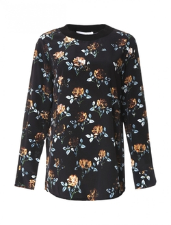 Thakoon Addition - Long-Sleeve Rose Print Silk Top