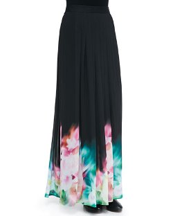 Charlie Jade	 - Pleated Floral Watercolor Print Maxi Skirt