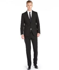 Tahari - Mens Solid Black Modern Fit Wool Suit