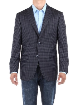 Bianco Brioni - Check Modern Two Button Blazer Trim Fit Jacket