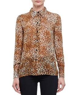 Saint Laurent - Leopard-Print Button-Front Blouse