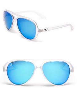 Ray-Ban  - Matte Transparent Mirror Aviator Sunglasses