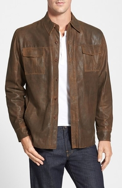 Missani Le Collezioni  - Classic Fit Military Shirt Leather Jacket