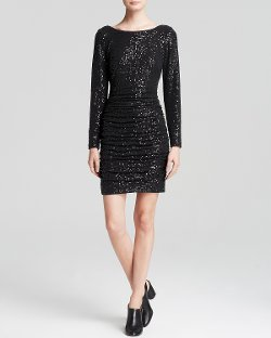 Aqua - Sequin Ruched Sheath Dress