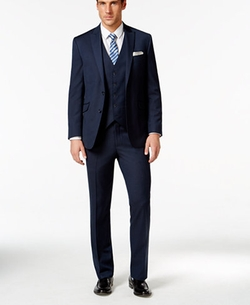 Kenneth Cole Reaction - Denim Vested Slim-Fit Suit