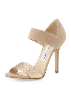Jimmy Choo   - Tallow Glitter Suede Ankle-Wrap Sandal