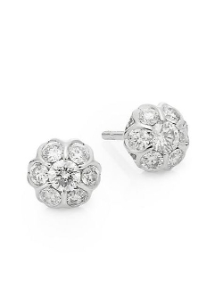 Saks Fifth Avenue  - White Gold Stud Earrings
