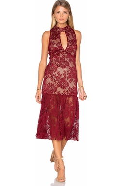 Endless Rose - Sleeveless Lace High Neck Midi Dress