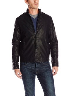 Perry Ellis - Faux Leather Textured Bomber Jacket