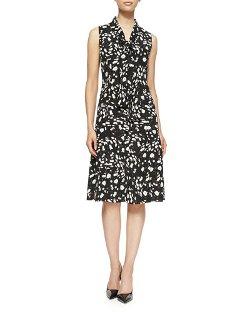 Carolina Herrera   - Daisy Floral-Print Twill Tie-Neck Dress