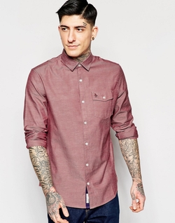 Original Penguin  - Nep Herringbone Chambray Long Sleeved Shirt