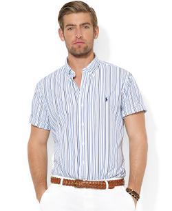 Polo Ralph Lauren  - Custom-Fit Short-Sleeved Multi-Striped Poplin Sport Shirt