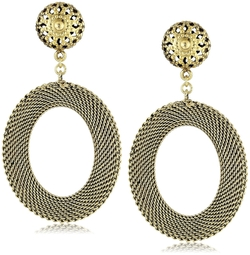 Yochi - Oval Mesh Statement Earrings