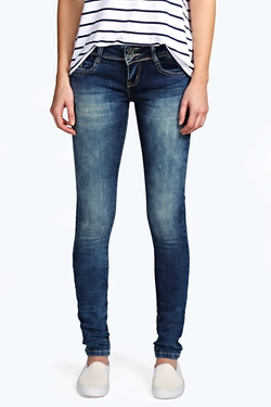 Boohoo Blue - Evie Low Rise Skinny Jeans
