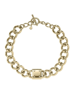Michael Kors - Logo-Plaque Curb-Chain Necklace