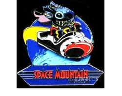 Disney  - Retro Space Mountain Tomorrowland Stitch Slider Pin