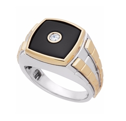 Fine Jewelry - Onyx And Diamond Two-Tone Ring