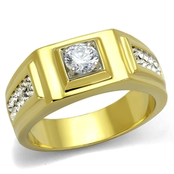 Marimor Jewelry - Faux Diamond Stainless Steel Gold Ion Plated Ring