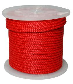 T.W . Evans Cordage  - Solid Braid Propylene Multifilament Derby Rope, Red