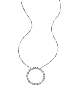 Argento Vivo  - Crystal Circle Pendant Necklace