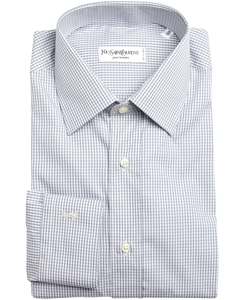 Laurent - Grey And White Mini Check Cotton Point Collar Dress Shirt