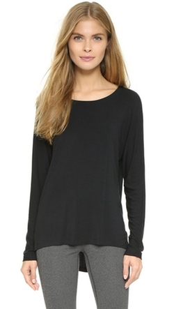 David Lerner - Long Sleeve High Low Scoopneck Tee Shirt