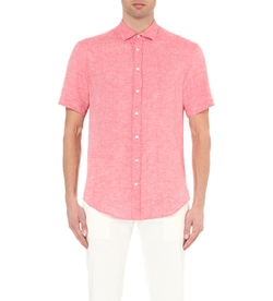 Armani Collezioni  - Regular-Fit Short-Sleeved Linen Shirt