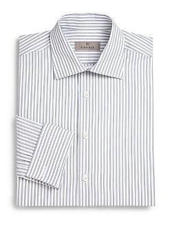 Canali  - Track Stripe Cotton Dress Shirt