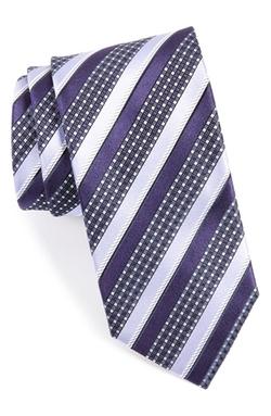 Canali  - Stripe & Check Silk Tie