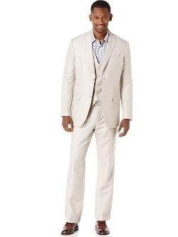 Perry Ellis - Linen Cotton Natural Herringbone Suit