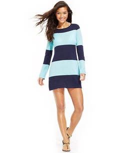 Tommy Bahama - Long-Sleeve Striped Cover Up Dress
