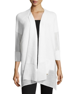 Escada	  - Three-Quarter-Sleeve Ribbed Cardigan