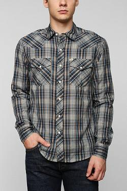 Urban Outfitters - Salt Valley Stringer Plaid Western Shirt