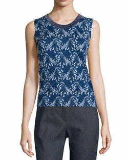 Escada  - Floral Lace-Print Wool/Silk Tank Top