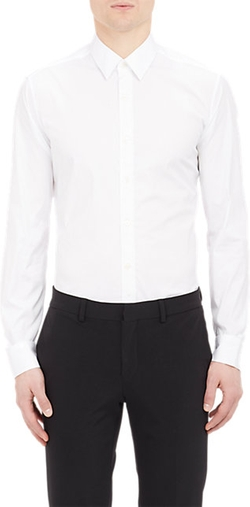 Barneys New York  - Grosgrain Placket Poplin Shirt