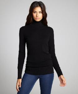 HAYDEN  - Black Cashmere Long Sleeved Basic Turtleneck