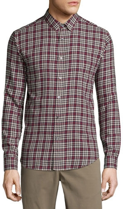 Theory - Zack Plaid Long-Sleeve Sport Shirt