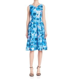 Carmen Marc Valvo - Floral Pleated Cocktail Dress
