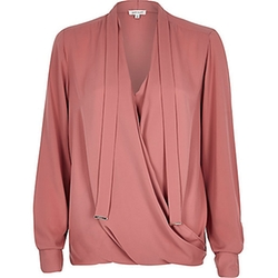 River Island - Long Sleeve Pussybow Wrap Blouse