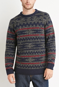 21men - Marled Geo Pattern Sweater